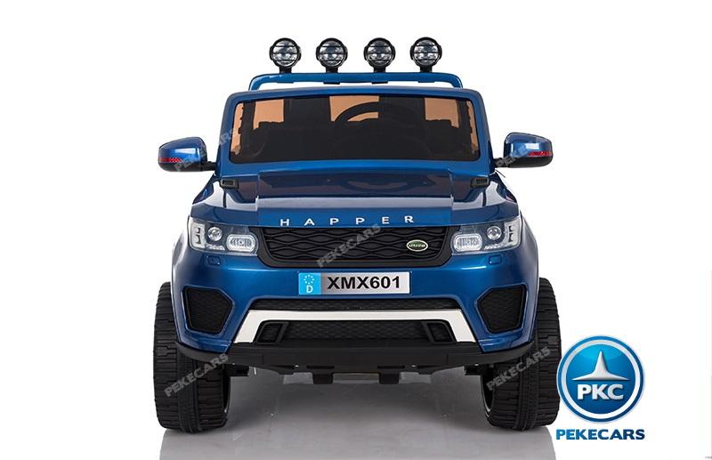 Coche electrico para niños Jeep Happer MP4 Azul Metalizado vista frontal