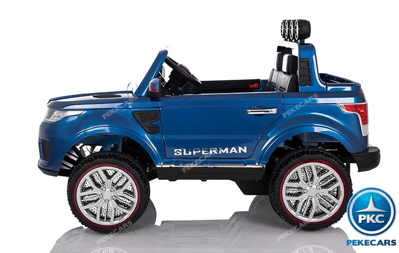 Coche electrico para niños Jeep Happer MP4 Azul Metalizado vista lateral