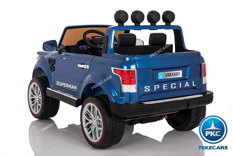 Coche electrico infantil Jeep Happer MP4 Azul Metalizado ruedas de caucho antipinchazos