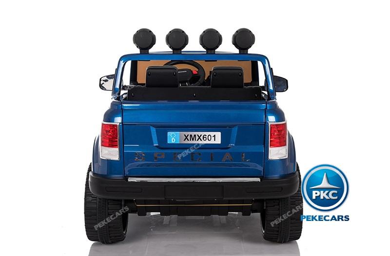 Coche electrico para niños Jeep Happer MP4 Azul Metalizado vista trasera