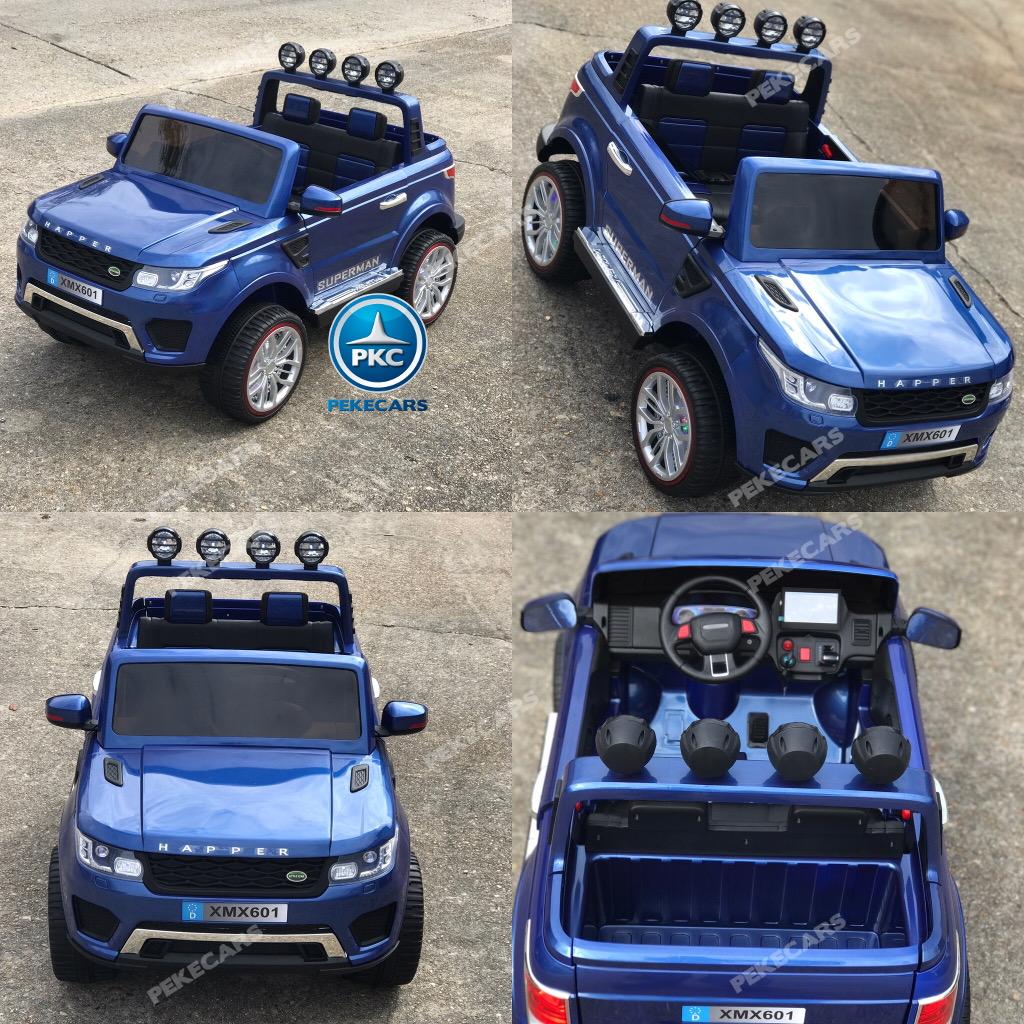 Coche electrico para niños Jeep Happer MP4 Azul Metalizado