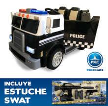 Camión Eléctrico de policia para niños 12V 2 plazas vista principal