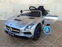 Coche electrico para niños Mercedes deportivo sls Plata Metalizado vista principal