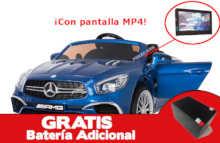 Coche electrico para niños Mercedes SL65 con MP4 y bateria extra Azul Metalizado vista principal