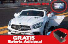 Coche electrico para niños Mercedes SL65 con MP4 y bateria extra Blanco vista principal