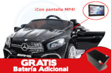 Coche electrico para niños Mercedes SL65 con MP4 y bateria extra Negro vista principal
