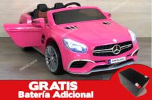 Coche electrico para niños Mercedes SL65 con MP4 y bateria extra Rosa vista principal