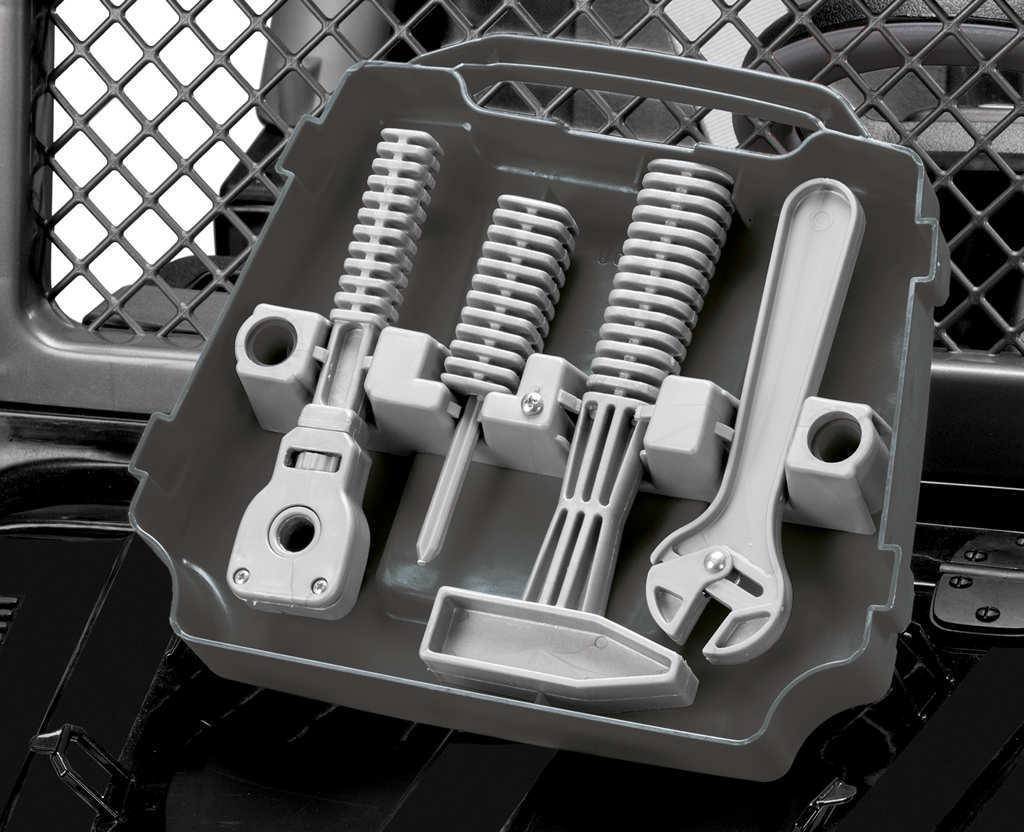 Coche electrico infantil Jeep gaucho superpower 24V caja de herramientas