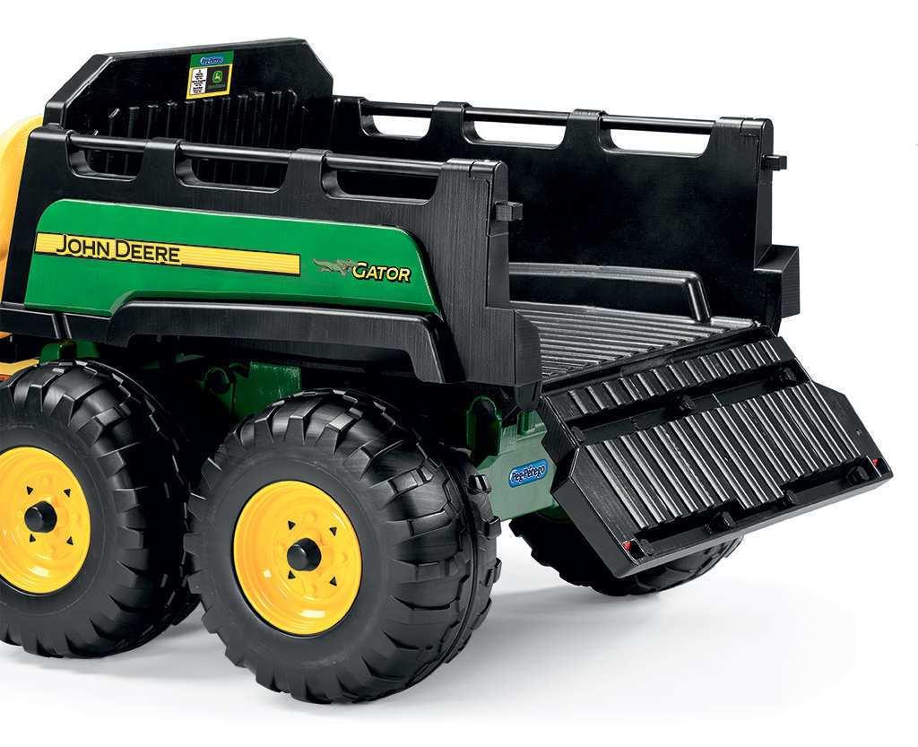 Tractor electrico infantil John Deere Gator HPX 2 plazas volquete con seccion que se abre