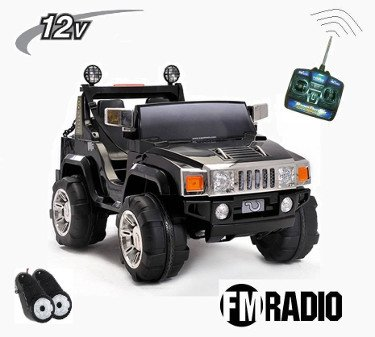 Hummer style 12V con rc con radio fm negro infantil Pekecars