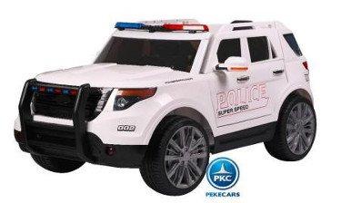 Coche electrico de policia para niños Azul vista principal