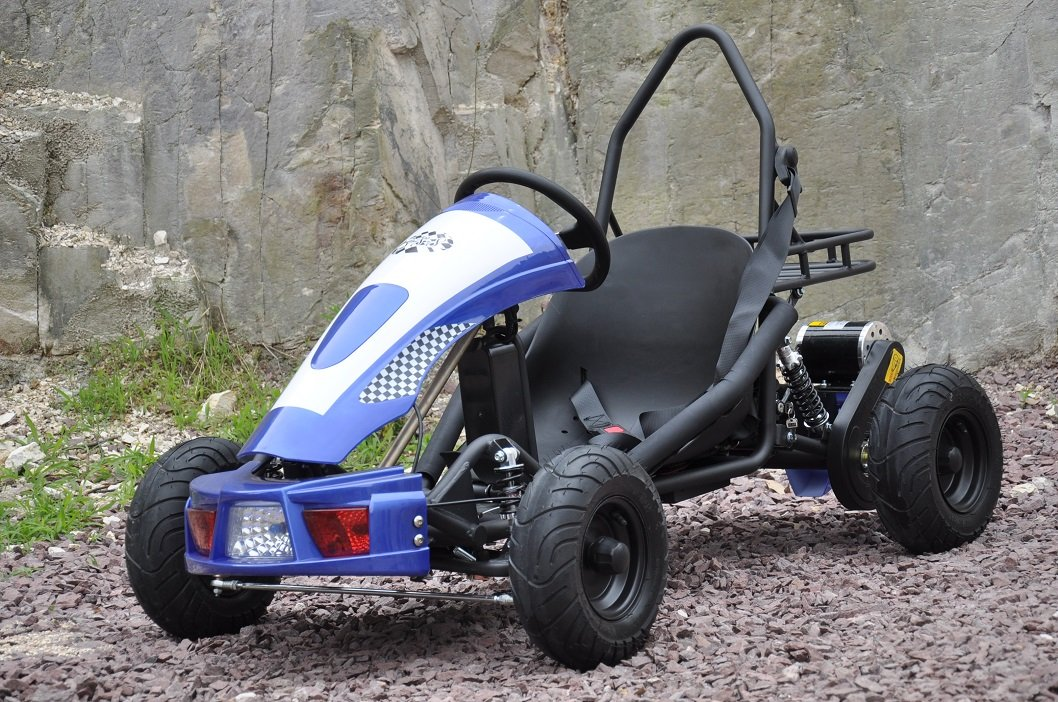 Kart Eléctrico 500W 36V Azul Vista Lateral