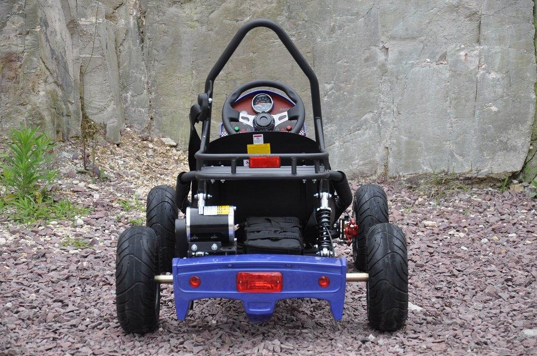 Kart Eléctrico 500W 36V Azul Vista Trasera