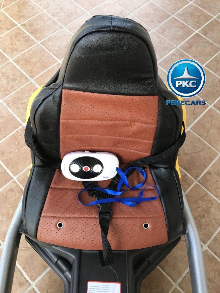 Kart eléctrico infantil FC-8818 Amarillo asiento acolchado en piel