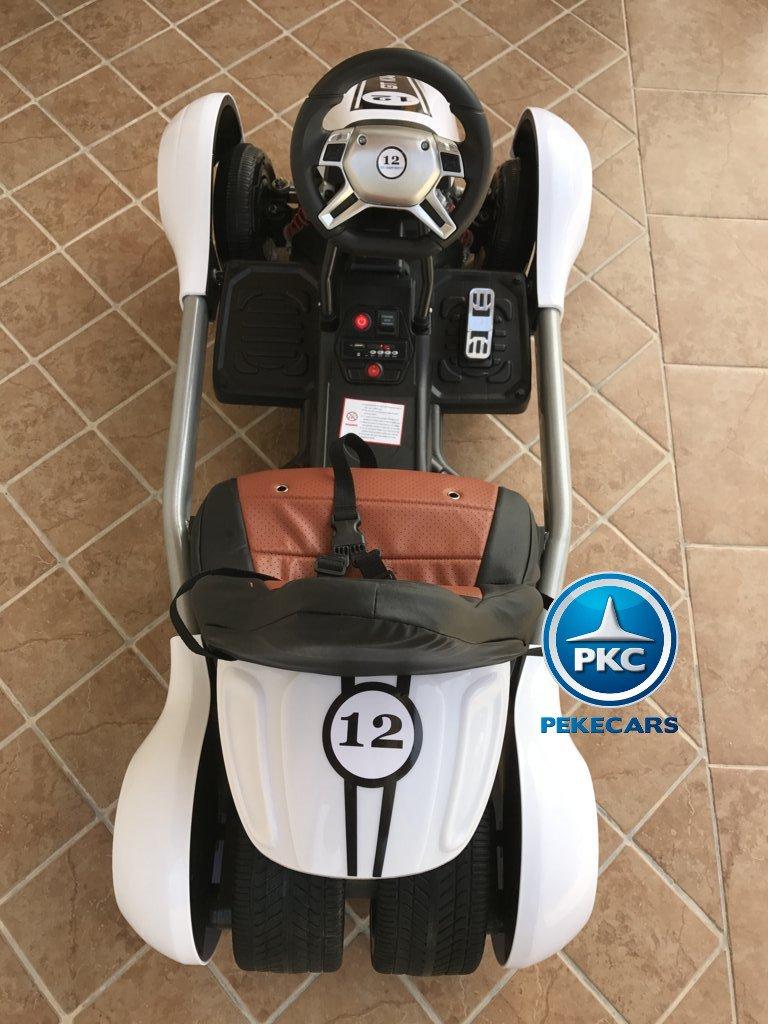 Kart eléctrico para niños FC-8818 Blanco desde arriba