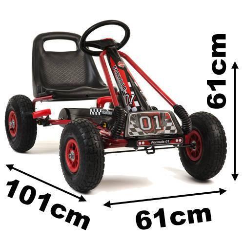 Kart de pedales A15 Rojo y Negro medidas
