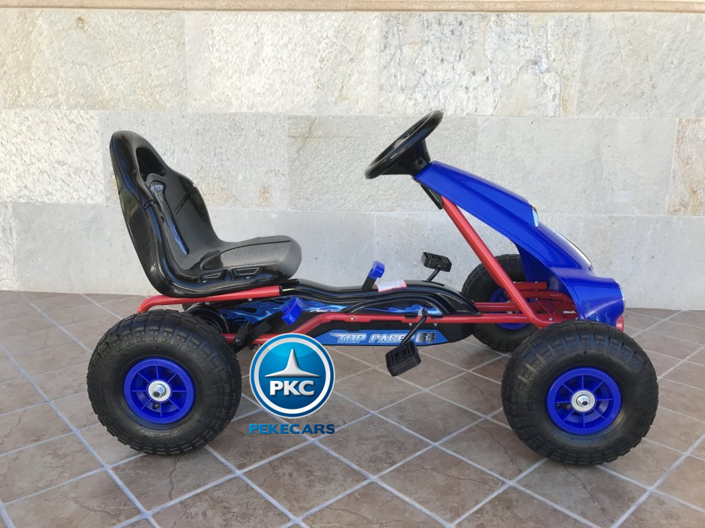 Kart a pedales Flame Azul lateral