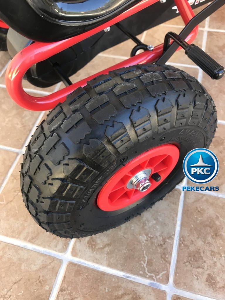 Kart a pedales Flame Rojo ruedas neumáticas