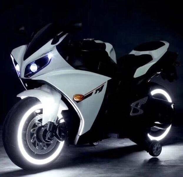Moto eléctrica R1 Blanca - leds ruedas