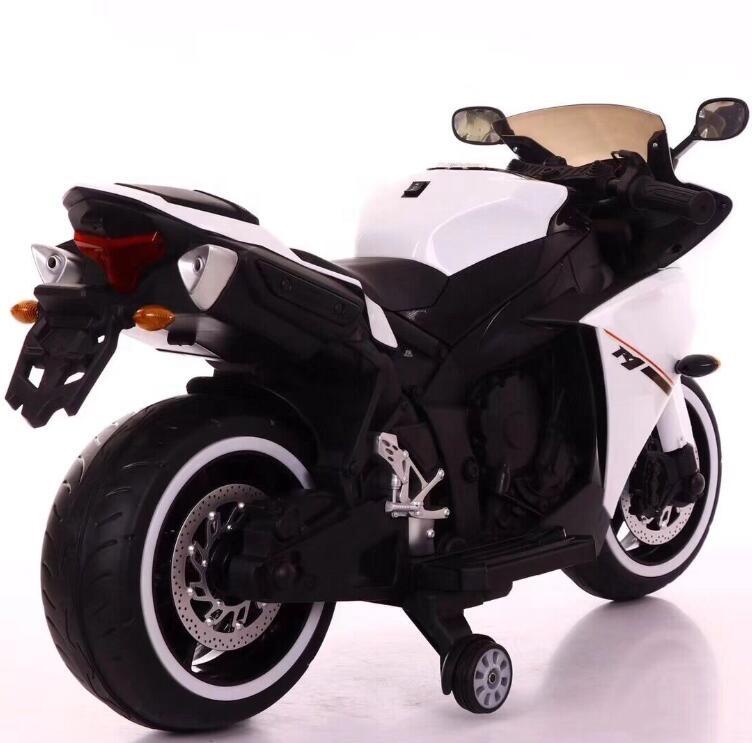 Moto eléctrica R1 Blanca - vista trasera