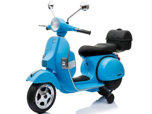 Moto electrica para niños Vespa Clasica Piaggio 12V Azul asiento en piel