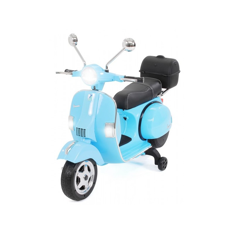 Moto electrica para niños Vespa Clasica Piaggio 12V Azul con ruedines