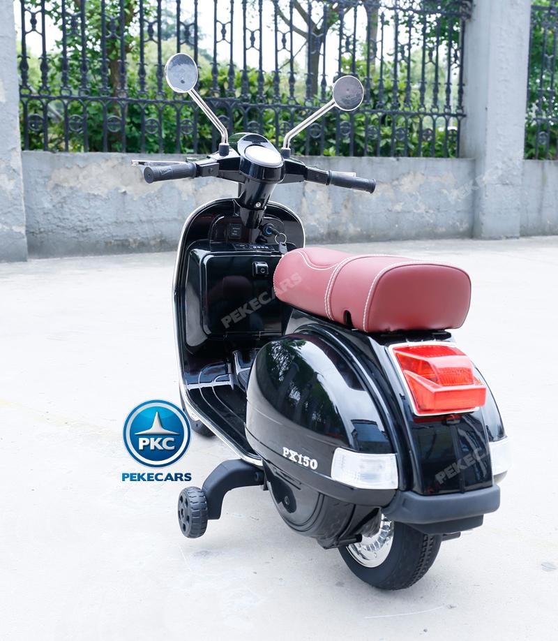 Moto electrica para niños Vespa Clasica Piaggio 12V Negra asiento en piel