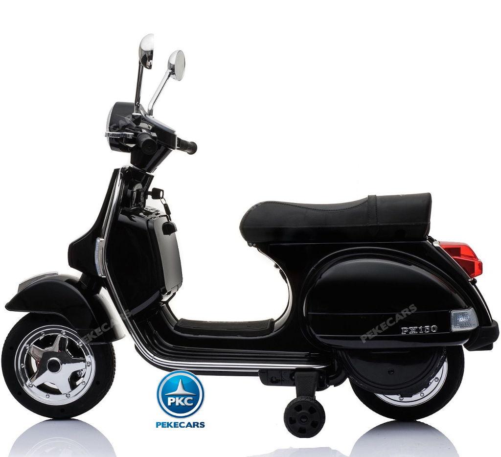 Moto electrica para niños Vespa Clasica Piaggio 12V Negra lateral