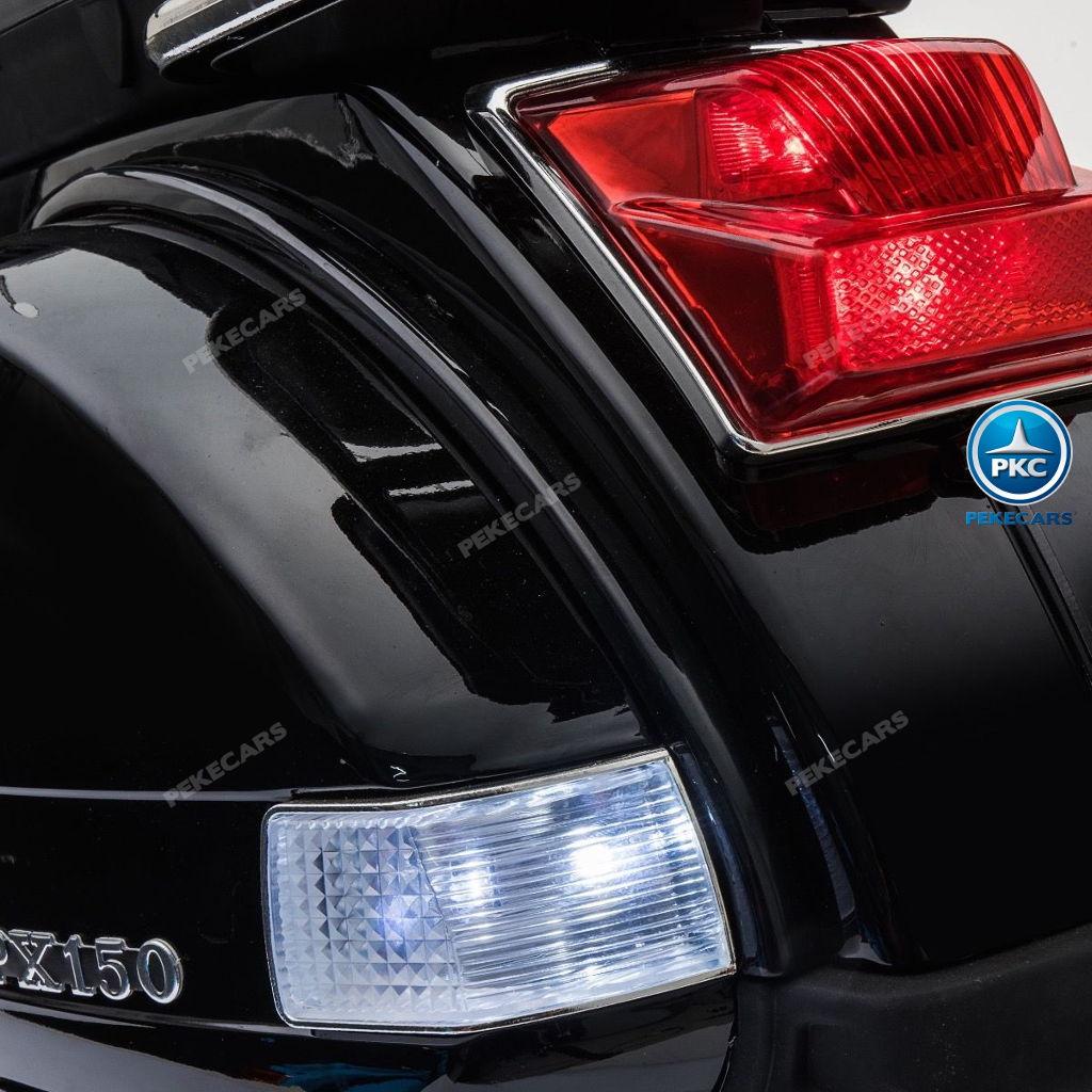 Moto electrica para niños Vespa Clasica Piaggio 12V Negra luces LED