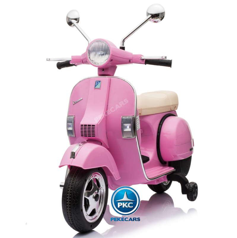 Moto electrica para niños Vespa Clasica Piaggio 12V Negra con ruedines