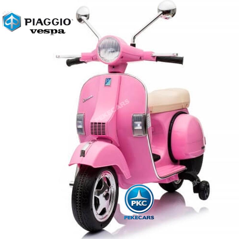 Moto electrica para niños Vespa Clasica Piaggio 12V Negra ruedas de caucho antiìnchazos