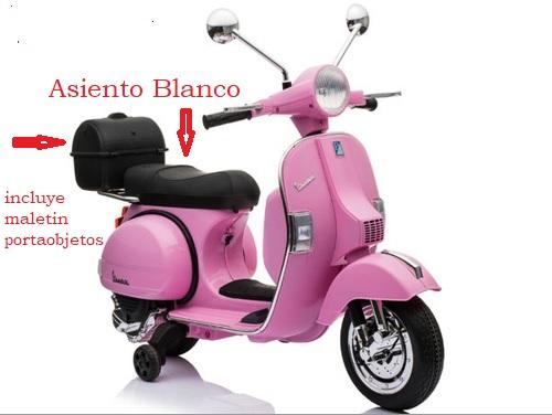 Moto electrica para niños Vespa Clasica Piaggio 12V Negra con maletero