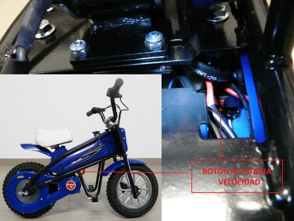 Moto electrica infantil Pekecars 24V 200W Azul selector de velocidad