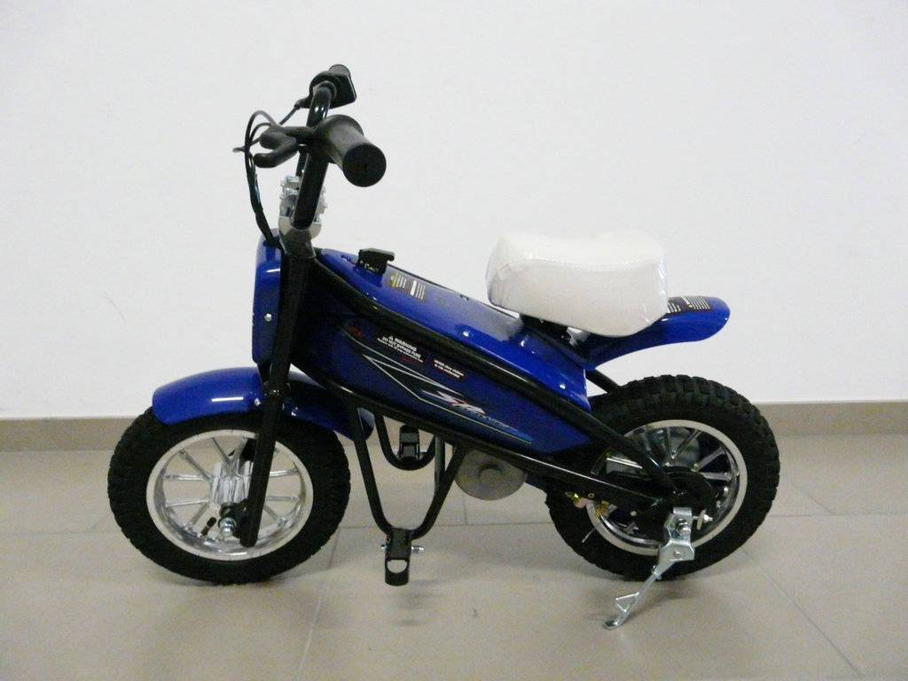 Moto electrica infantil Pekecars 24V 200W Azul lateral