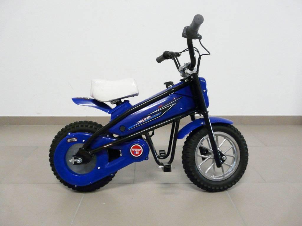 Moto electrica infantil Pekecars 24V 200W Azul de lado