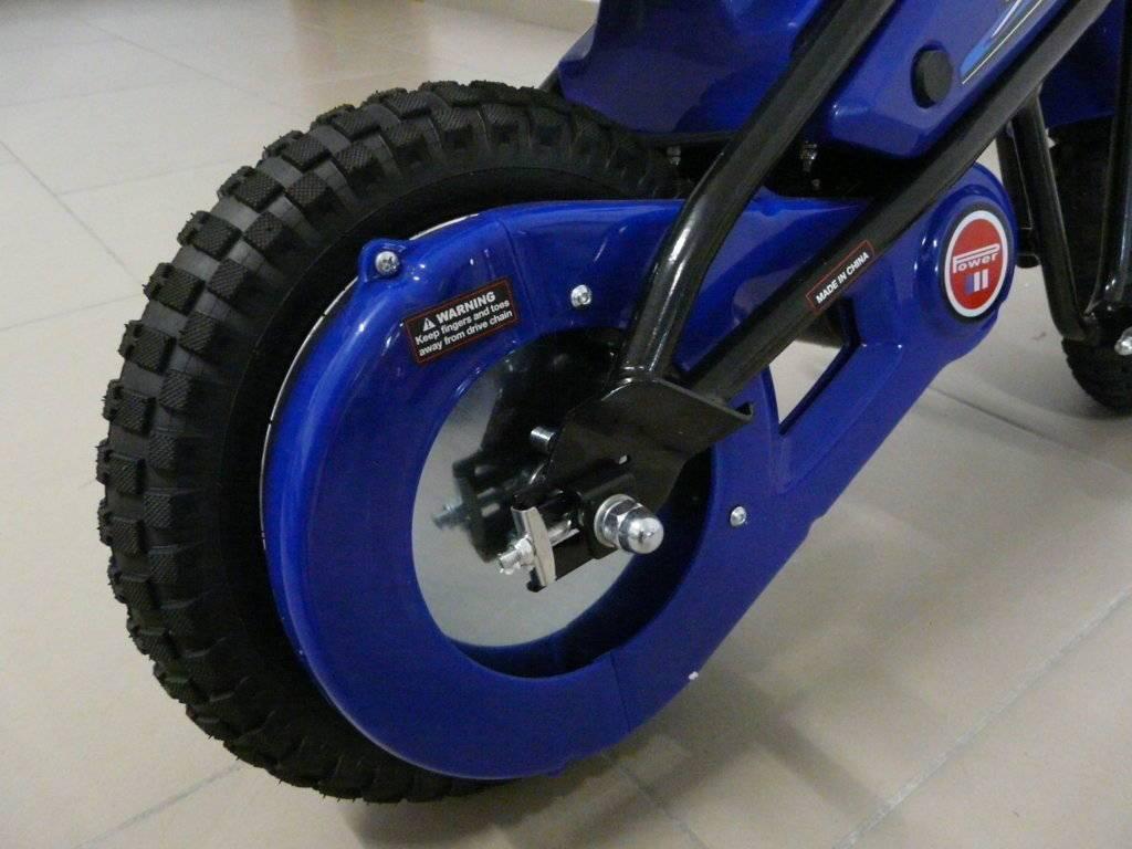 Moto electrica infantil Pekecars 24V 200W Azul rueda motriz