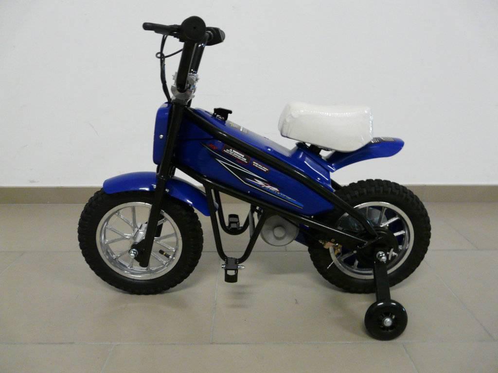 Moto electrica infantil Pekecars 24V 200W Azul con ruedines puestos