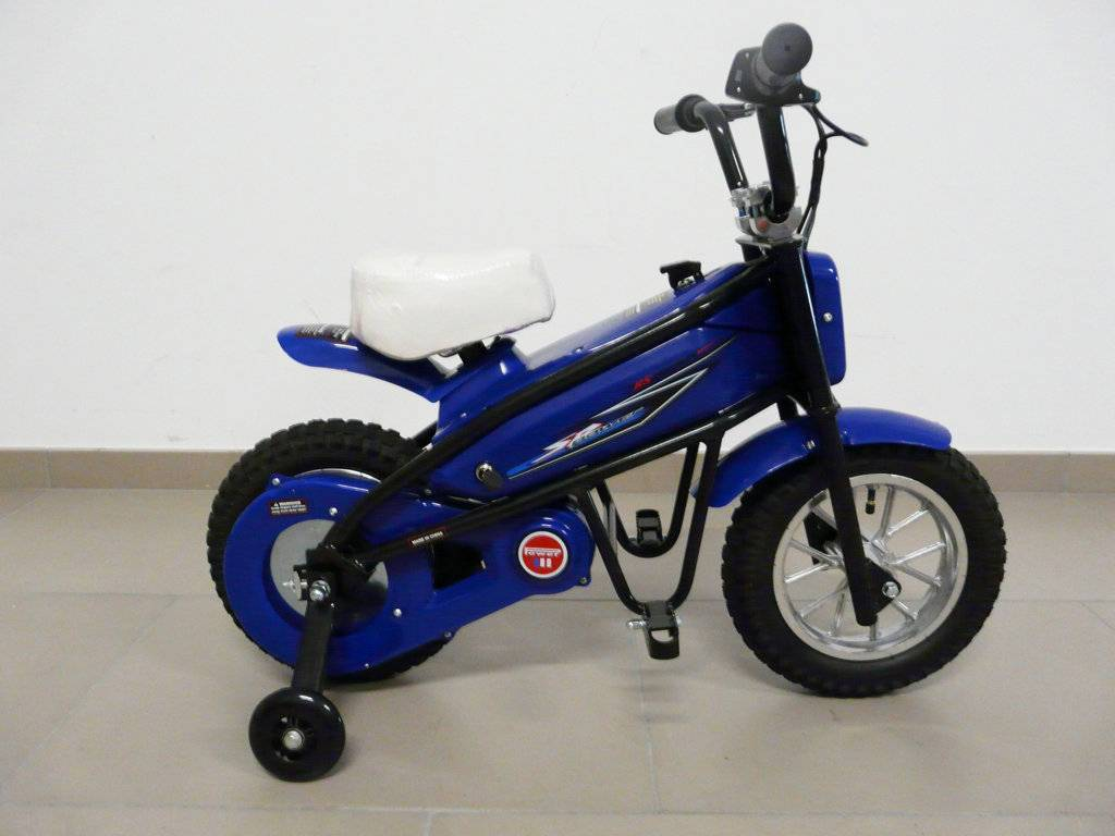 Moto electrica infantil Pekecars 24V 200W Azul lateral con ruedines