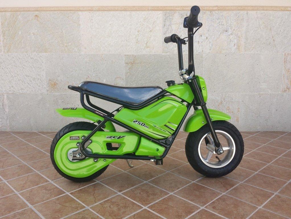 Moto electrica para niños Pekecars 24V 250W Verde de lado