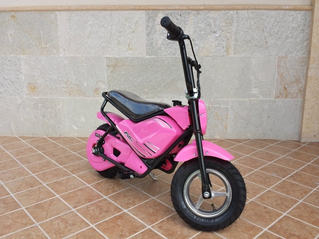 Moto electrica para niños Pekecars 24V 250W Rosa vista principal