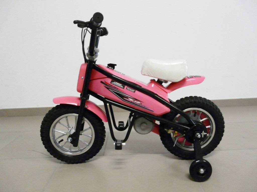 Moto electrica infantil Pekecars 24V 200W Rosa con ruedines lateral