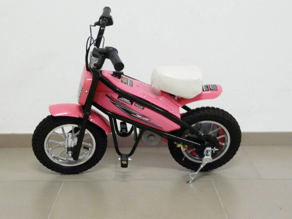 Moto electrica infantil Pekecars 24V 200W Rosa lateral