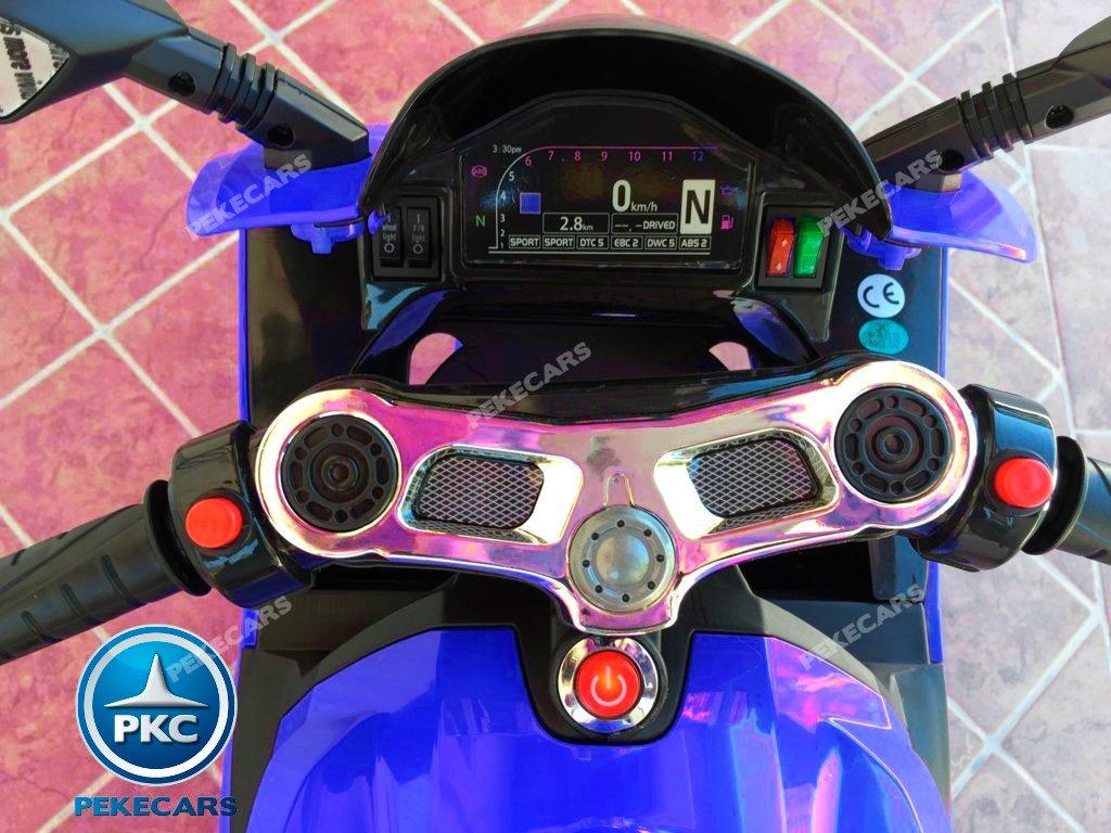 Moto electrica para niños Ducati Panigale Style Azul vista del manillar