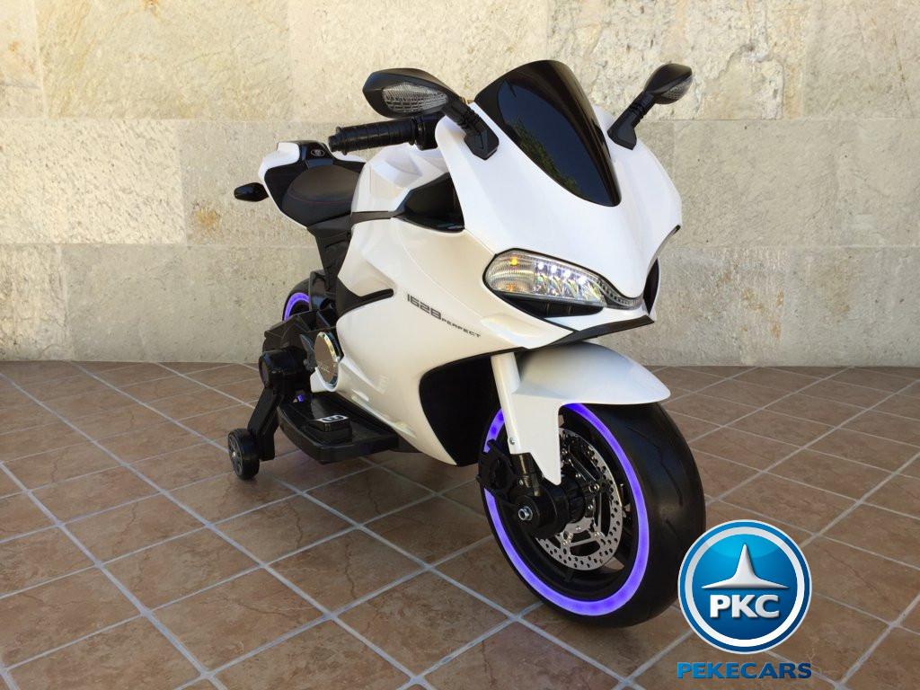 Moto electrica para niños Ducati Panigale Style Blanca vista principal