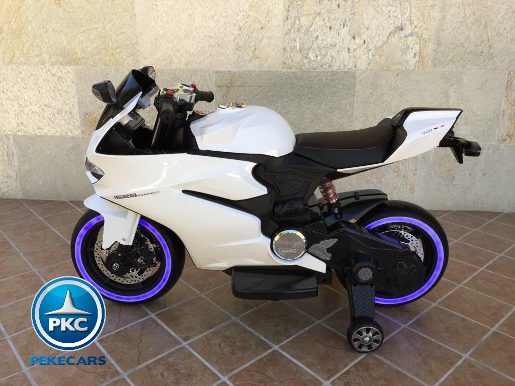 Moto electrica para niños Ducati Panigale Style Blanca lateral