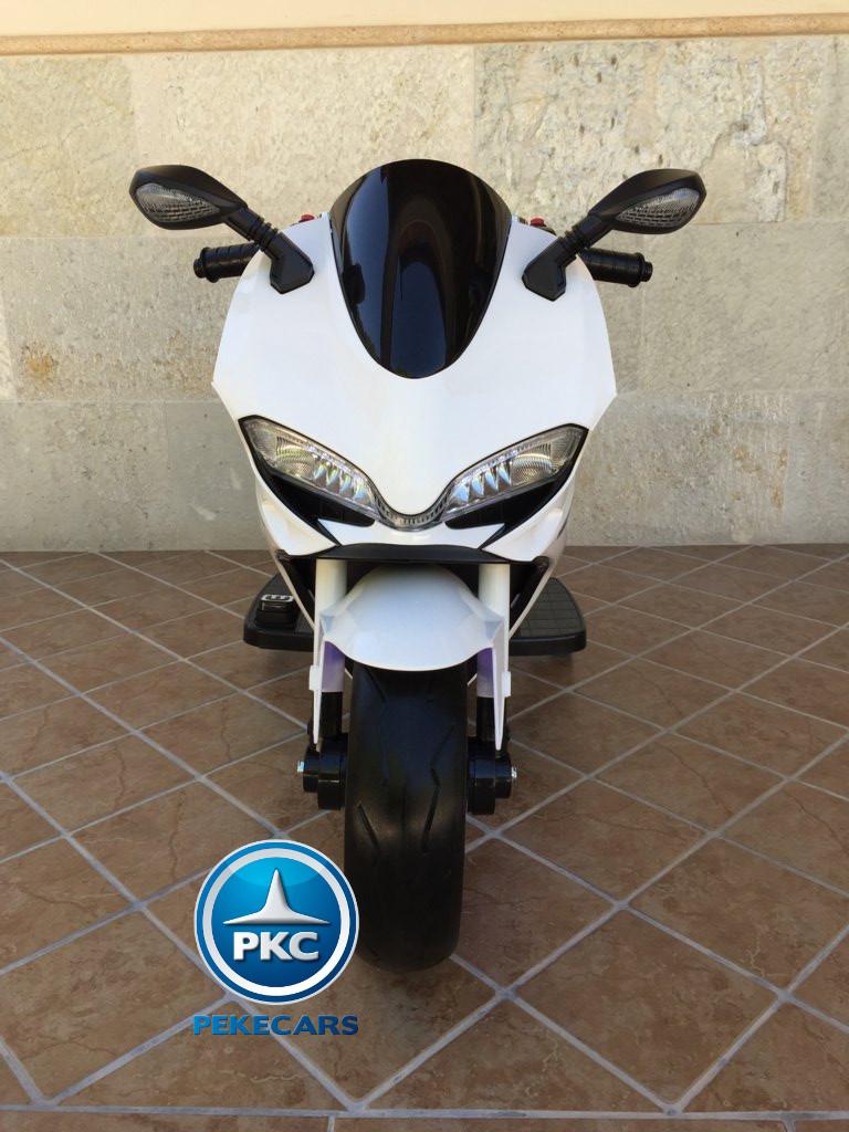 Moto electrica para niños Ducati Panigale Style Blanca frontal