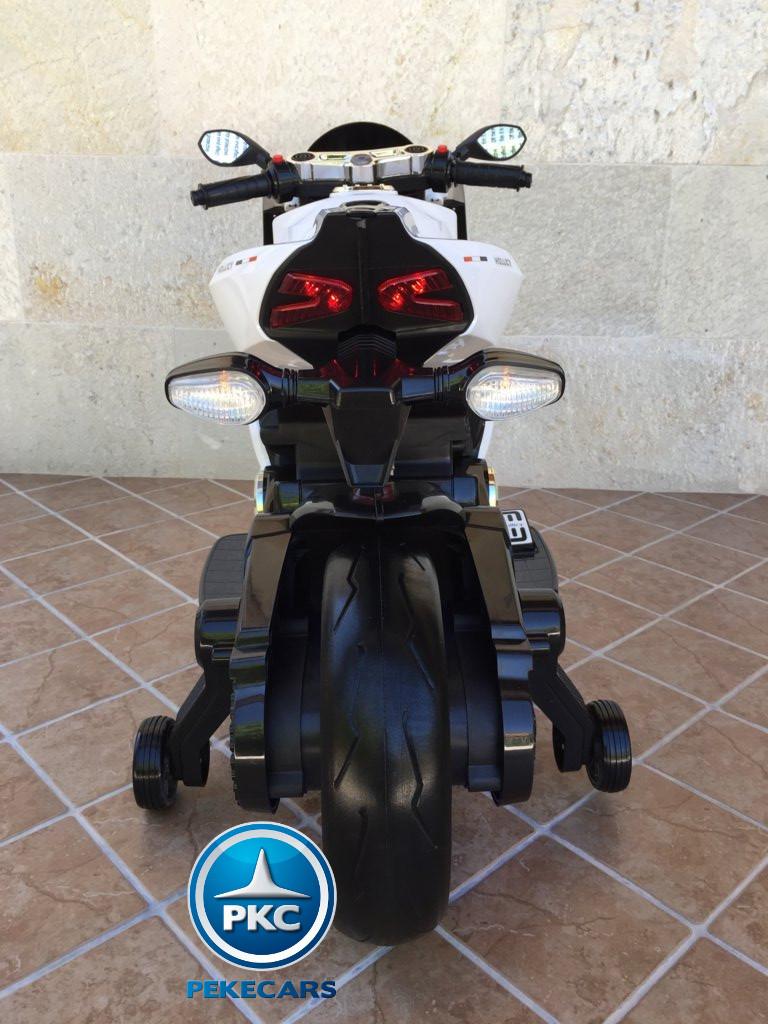Moto electrica para niños Ducati Panigale Style Blanca trasera