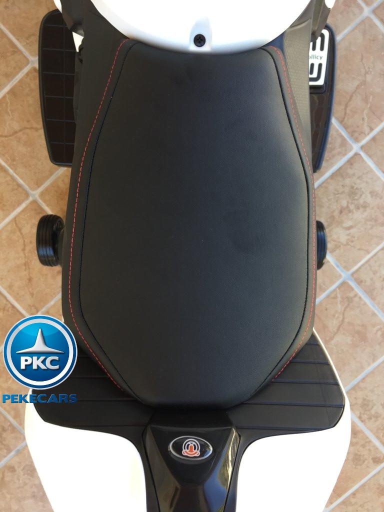 Moto electrica para niños Ducati Panigale Style Blanca asiento acolchado