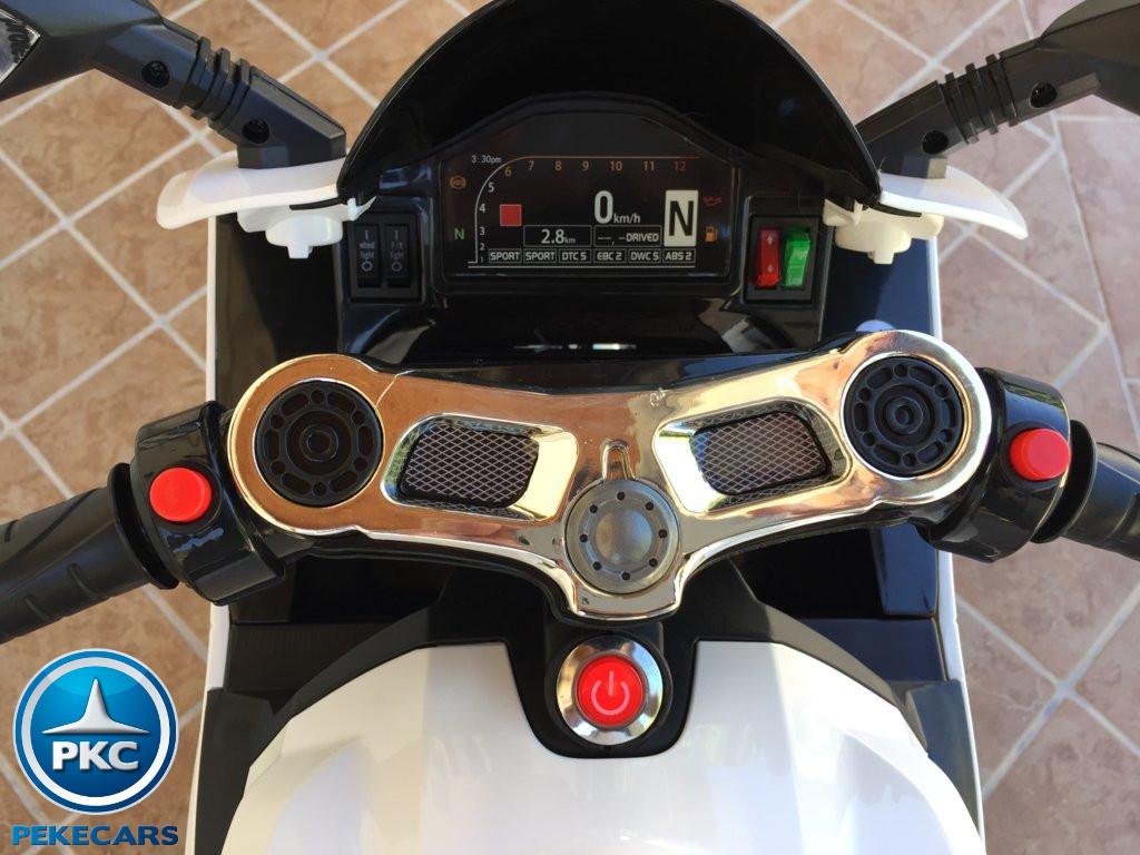 Moto electrica para niños Ducati Panigale Style Blanca manillar