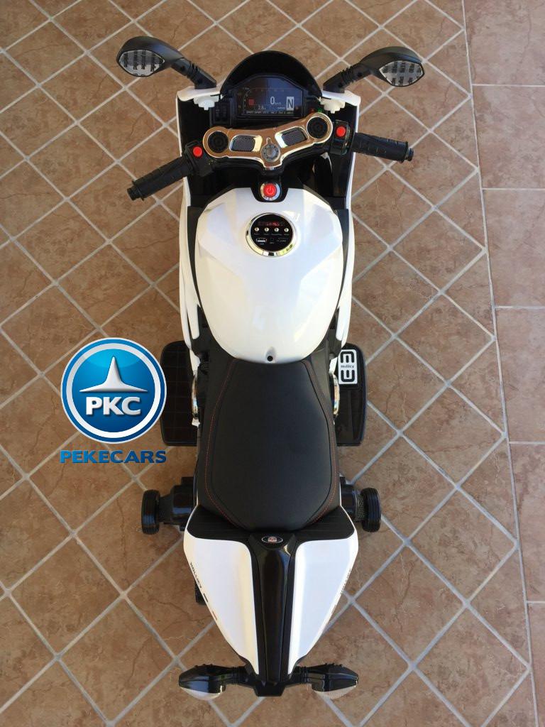Moto electrica para niños Ducati Panigale Style Blanca vista desde arriba